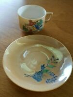 "Miniature Teacup And Saucer Made In Occupied Japan . Cup 2"" x 1 1/2"" Dainty."
