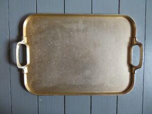 Vintage Retro 1960s  Large Gold Metal  Serving Tray.