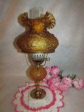 "VTG FENTON AMBER POPPY GWTW DOUBLE BALL GLOBE MARBLE BASE TABLE LAMP 3 WAY 20"""