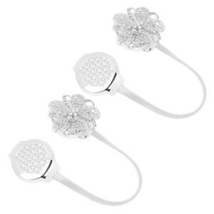 2xAdjustable Sparkling Flower Magnetic Curtain Tie Back Buckle Holder Silver