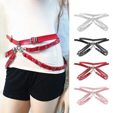 Women Punk Body Harness Belts Sexy Faux Leather Waist Strap Binding Chains
