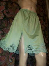 Vintage Green Silky Nylon Tricot A-line Slit Half Slip