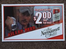 Narragansett Beer Small Paper Sign Jaws Movie Quint Shark Boat Fishing Can