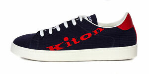 KITON SNEAKERS SHOES Navy blue polyester calfskin textile extra-luxury Italy 41