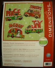 Dimensions Holiday Truck Ornaments Cross Stitch 14 Ct Plastic Canvas Kit