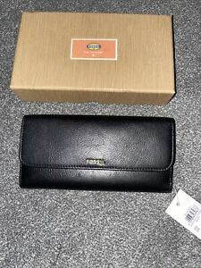 FOSSIL Ladies Black Memoir Flip Leather Purse Wallet Brand New In Box BNWT