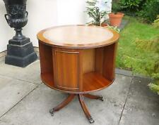 Mahogany Library Revolving Bookcase Table with Lt Brown Leather Reprodux style