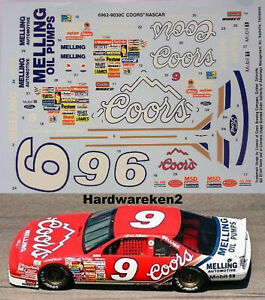 NASCAR DECAL # 9 COORS 1990 FORD THUNDERBIRD BILL ELLIOTT - 1/25