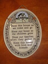 "Vintage Ceramic Tile Wall  Plaque ""Bless this House..."" Trinity Pottery"
