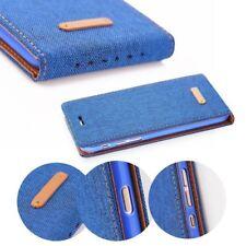 ^ Klapp Tasche Canvas Cover Hülle Handy Tasche Schutz Etui LG X Power K220 Blau