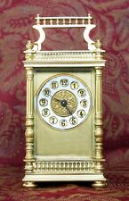 ANTIQUE FRENCH GILT CARRIAGE CLOCK, GILT FILIGREE DIAL GALLERIED CASE WORKS WELL