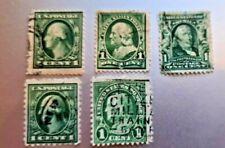 lot de 5 timbres one cent franklin