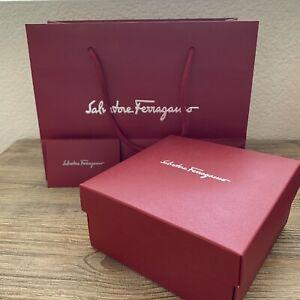 Salvatore Ferragamo Empty Paper Shopping Gift Bag Small w Box Red 11x8.25x4.75