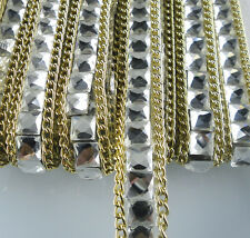 Diy Hotfix square clear glass crystal faceted rhinestones tape chain 20cm L10