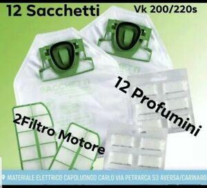 SACCHETTI FOLLETTO VK 200 VK 220S +12 PROFUMI 2 FILTRO MOTORE 12 SACCHI FILTRI