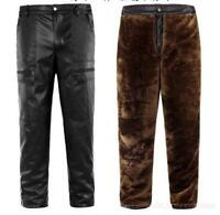 New Mens Pu Leather Straight Pants Fur Lined Motorcycle Warm Loose Trousers 2019