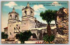 Mission De La Purisma Conception First Mission San Antonio, Texas Linen Postcard