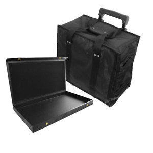Jewelry Rolling Carrying Case  Jewelry Travel Case with 12- Snap Solid Lid Trays