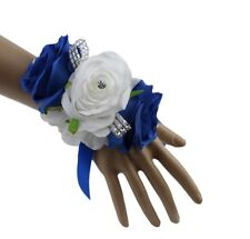 Wedding Prom Corsage: Elegant Royal Blue & White Wrist Corsage Artificial Roses