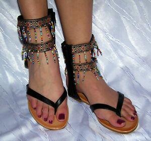 Perlen Sandalen Damen Sandaletten Gladiator Sommer N-213 Schuhe Zehentrenner