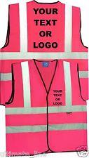 Pink HI VIS Personalised HI VIZ SAFETY VEST WAISTCOAT COMPANY LOGO Print
