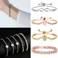 Wedding Bridal CZ Crystal Silver Rose Gold Bracelet Bangle Women Jewelry Gift
