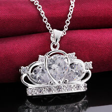 925Sterling Silver Jewelry Crystal Queen Crown Pendant Necklace 18inch NB579