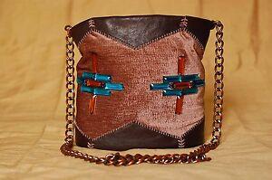 Brown leather drawstring bag with velvet and beads - Bucket bag - Handmade bag
