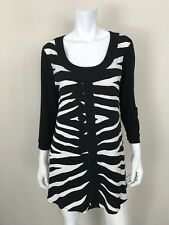 360f8670336dc EVA VARRO NWT Black White Zebra Print Scoop Neck Tunic Top Blouse SZ Xtra  Large