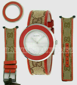 GUCCI YFA50037 KIT GG CANVAS STRAP RED LEATHER BAZEL FOR U-PLAY WATCH $195