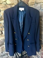 Vintage Navy Blazer Saks Fifth Avenue Folio Collection Size 8 Gold Buttons