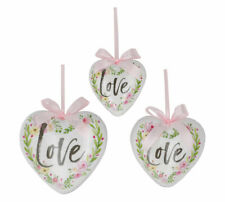 Large Valentine Love Heart Ornament Set 3 Decoupage Rose Flower Pink Decor