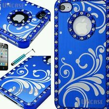For iPhone 4 4S Bling Metallic Brushed Aluminum Chrome Hard Case Cover +Pen Film