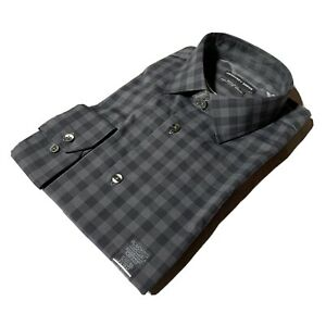 GEOFFREY BEENE Size L 16 - 16 1/2 34/35 Regular FIT Gingham Plaid Gray Shirt NWT