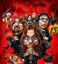 Black Sabbath-Paranoid 13 Ozzy, Tony, Geezer Caricature Sticker or Magnet