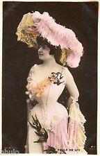 BE441 Carte Photo vintage card RPPC Femme woman Paule de Lys fashion chapeau