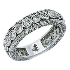 WOMENS DIAMOND ETERNITY BAND WEDDING RING ROUND CUT BEZEL SET 14KT WHITE GOLD