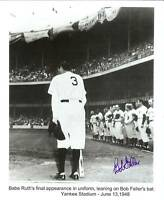 Bob Feller autographed photo  Babe Ruth making Final Appearance Yankee Stadium