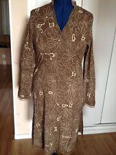 Tunique marron motifs beiges en coton Encolure Croisée Cache Coeur 38 / 40 TBEG