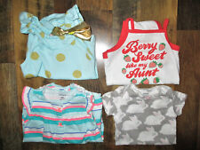 Baby Infant Girls 6 Month S/S Baby Cat & Jack,Carters Outfits Lot Of 4
