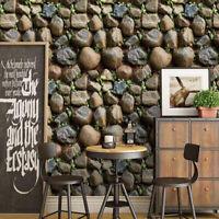 Vinyl Self Adhesive Wall Stickers 3D Brick Stone Wallpaper Roll Living Room 10M