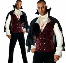 Mens Deluxe Vampire Costume Adults Halloween Count Dracula Fancy Dress Outfit