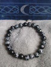 snowflake obsidian bracelet crystal healing 8mm Bead