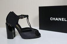 New sz 6 / 36 CHANEL Black Leather Logo CC Heel T strap Patent Cap Toe Pump Shoe