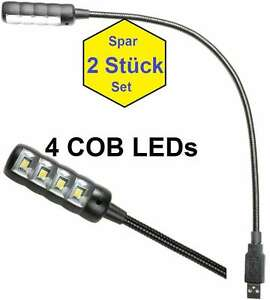 2 x Ultrahelle USB Lampe mit 4 COB LED Leselampe Schwanenhalslampe Leuchte Licht