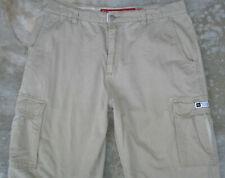 Quiksilver Quik Relaxed Jeans Straight Cargo Pants Sz 38 X 31 Khaki 100% Cotton