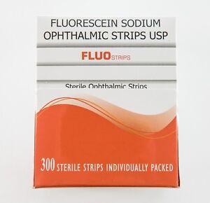 300 Fluo Strips Fluorescein Ophthalmic Strips U.S.P bio glo Fluorets
