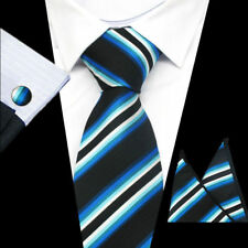 100% Pure Silk Neck Tie Cuff-links & Handkerchief Set Blue & White Stripes