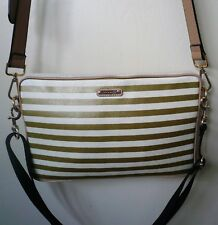Rebecca Minkoff $195 Leather Striped Cream/Gold Crossbody Handbag