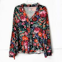 Floreat by Anthropologie Floral Pajama Top Button Down Womens Size Large L